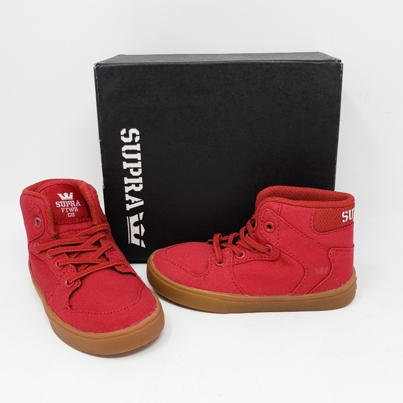 18e4bf3118 Supra Shoes | Toddler Vaider Skateboarder Red High Tops | Poshmark